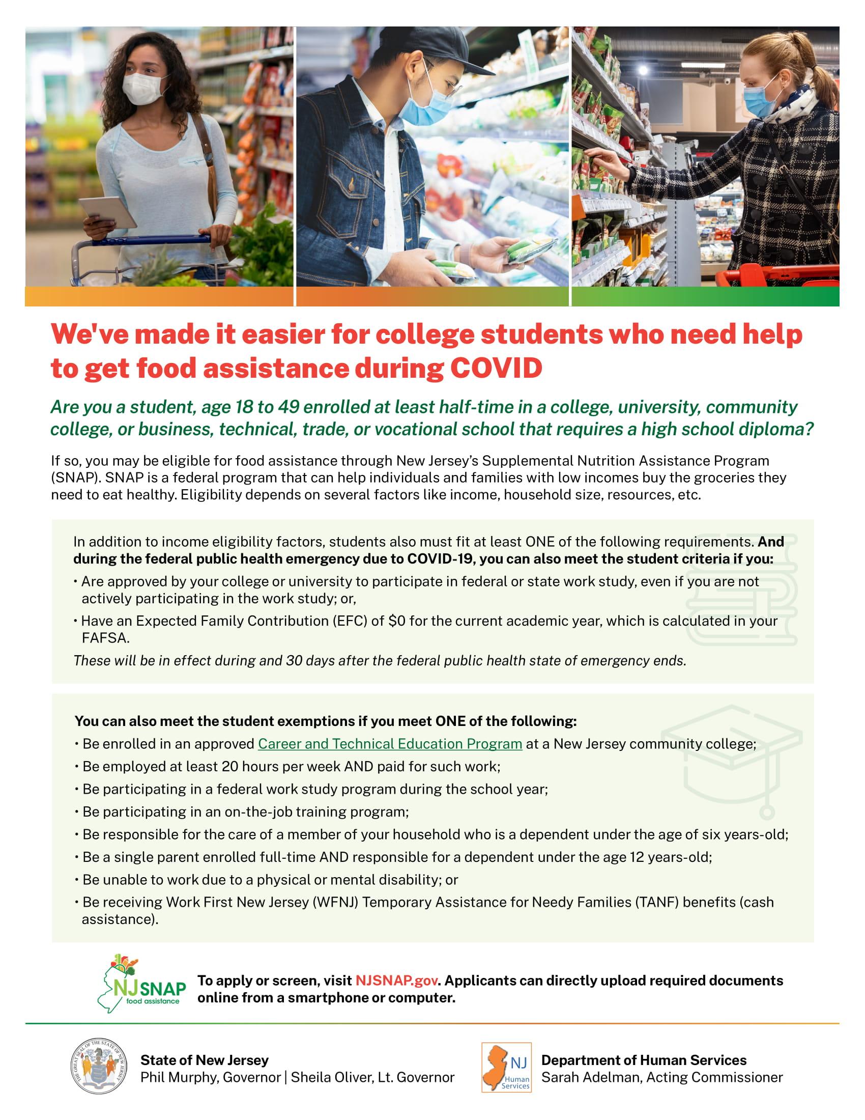 The NJ SNAP Fact Sheet flyer.