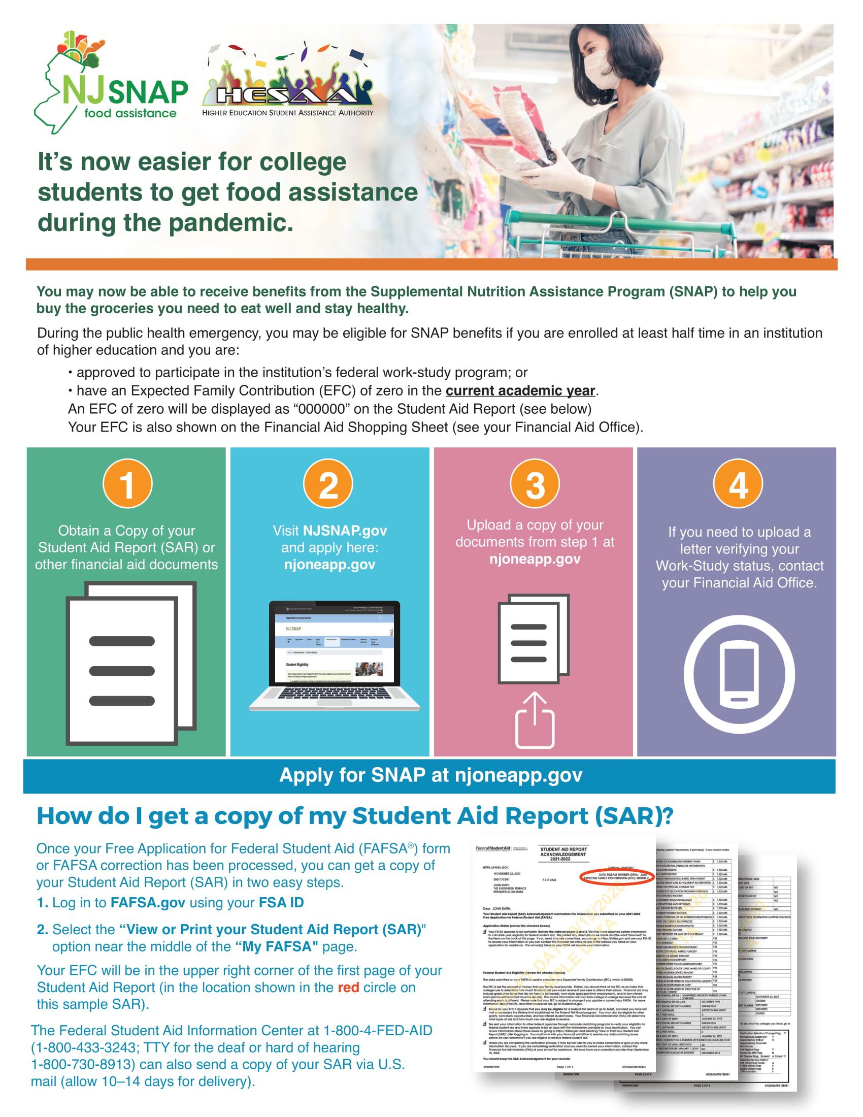 The NJ SNAP Benefits flyer.